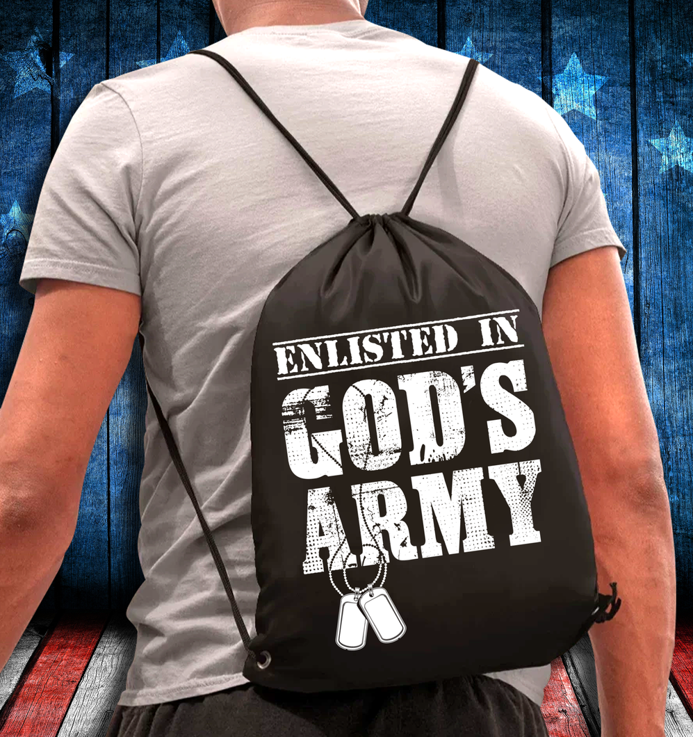 Army Veteran Enlisted In God's Army Drawstring Bag - ATMTEE