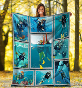 3D Scuba Diving Diver Ocean Gifts Plush Fleece Blanket - ATMTEE