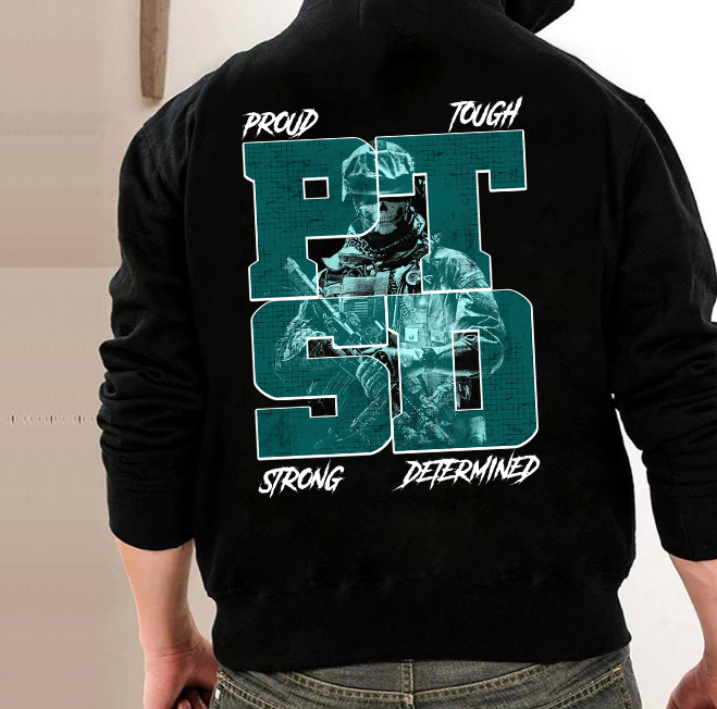 PTSD Awareness Proud Tough Strong Determined ATM-USBL50 Hoodies - ATMTEE