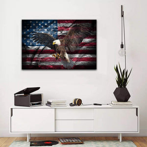 American Flag Eagle Spreads Its Wings with USA Flag Canvas, Gift For Veteran Matte Canvas - ATMTEE
