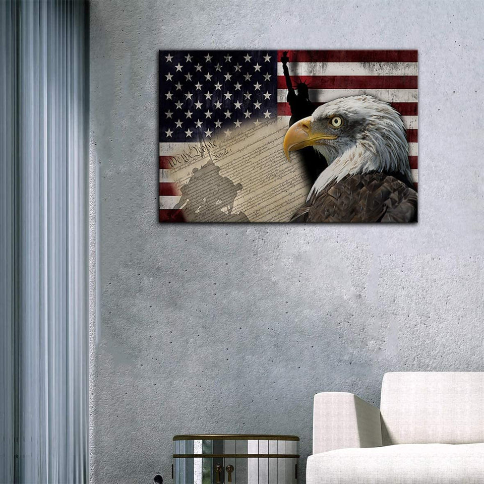 American Flag Canvas Eagle Flag Retro Patriotic, Gift For Veteran Matte Canvas - ATMTEE