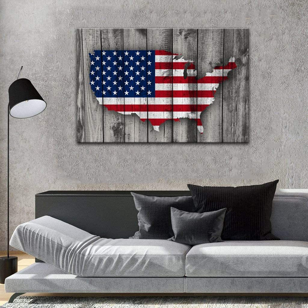 American Flag Map Canvas Red White Wall Art Patriotic USA Flag Matte Canvas - ATMTEE