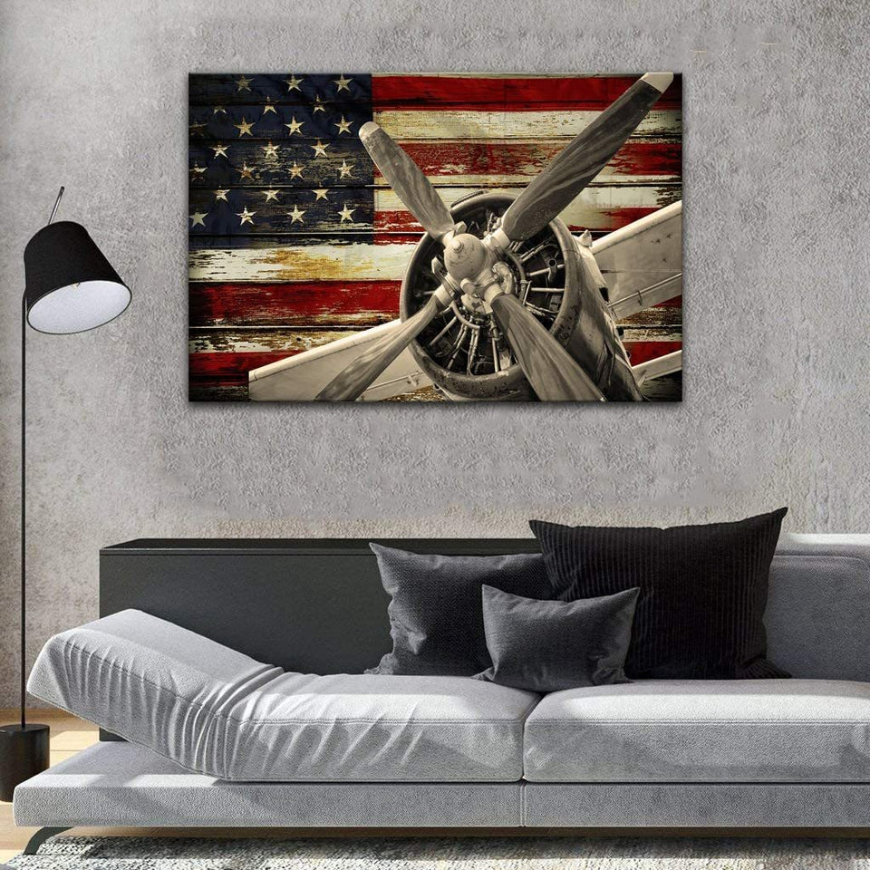 American Flag Aircraft Fighter Bomber Head Propelle Matte Canvas - ATMTEE