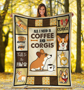 All I Need Is Coffee And Corgis, Corgi Dog Fleece Blanket - ATMTEE