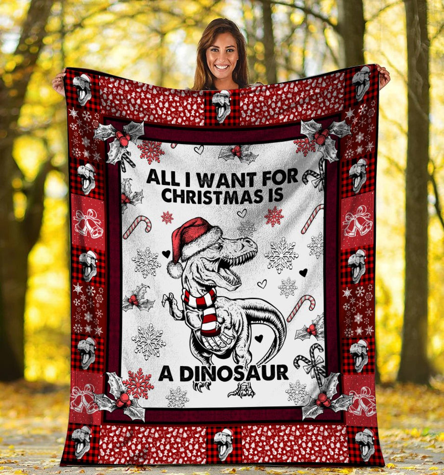 All I Want For Christmas Is A Dinosaur Xmas Fleece Blanket - ATMTEE