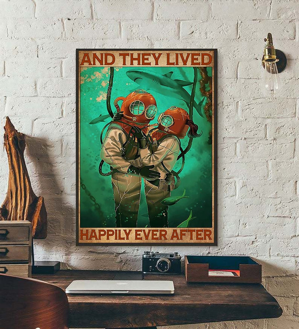 And They Lived Happily Ever After, Scuba Diving Matte Canvas - ATMTEE