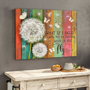 Butterfly Canvas Wall Art- Beautiful Butterfly And Dandelion Canvas What If You Fly Wall Art Decor Canvas - ATMTEE