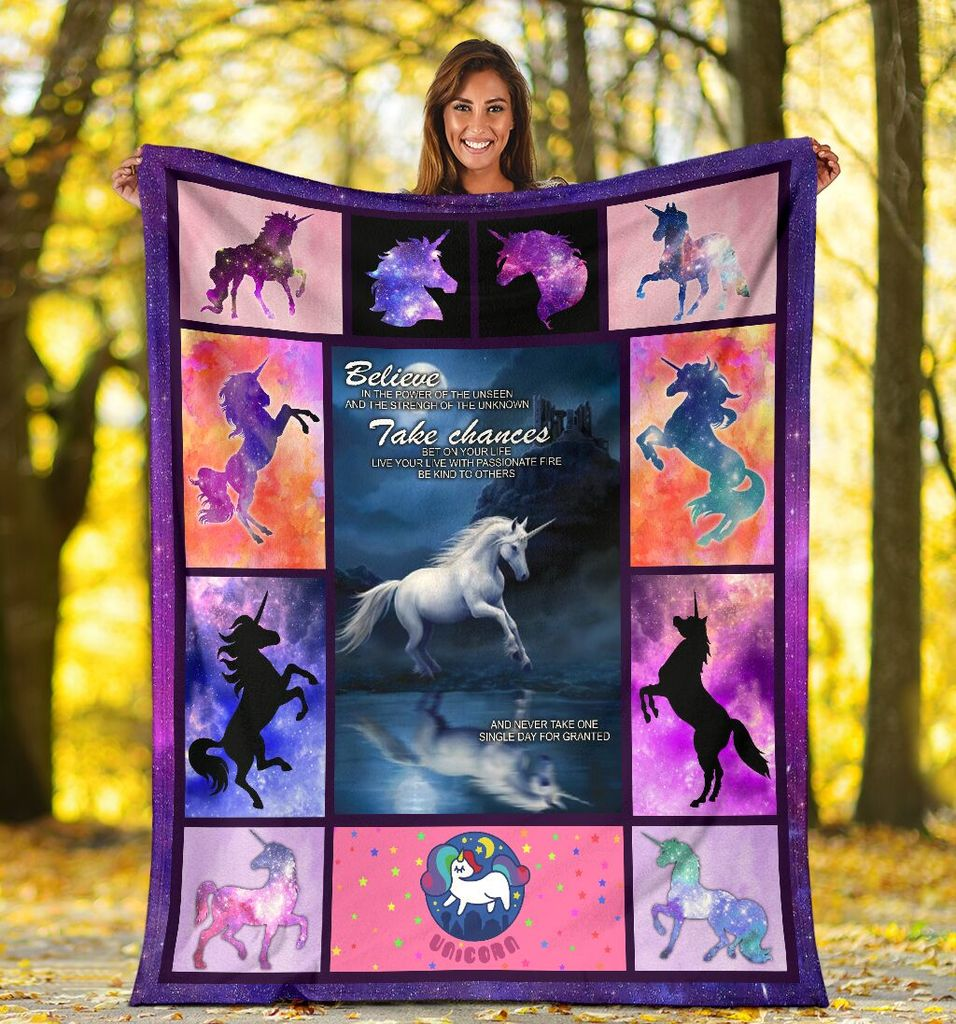 Believe In The Power Of Unseen And The Strength Of The Unknown Unicorn Galaxy Fleece Blanket - ATMTEE