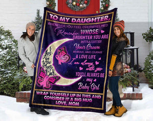 Breast Cancer, To My Daughter Blanket, Daughter Gift, Mom And Daughter, Gifts For Daughter, Breast Cancer Warrior Fleece Blanket - ATMTEE