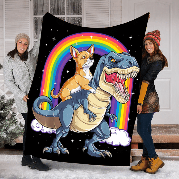 Chihuahua Riding Dinosaur T Rex Rainbow Fleece Blanket - ATMTEE