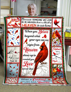 Gift For Cardinals Lover, When You Believe Beyond What Your Eyes Can See Fleece Blanket - ATMTEE