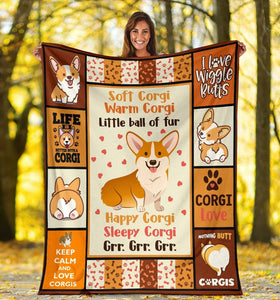 Corgi Little Ball Of Fur Dog Lover Gifts Sherpa Blanket - ATMTEE