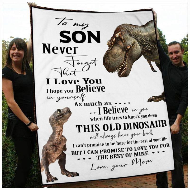 Dinosaur Mom And Son, To My Son Never Forget That I Love You Dinosaur Fleece Blanket - ATMTEE