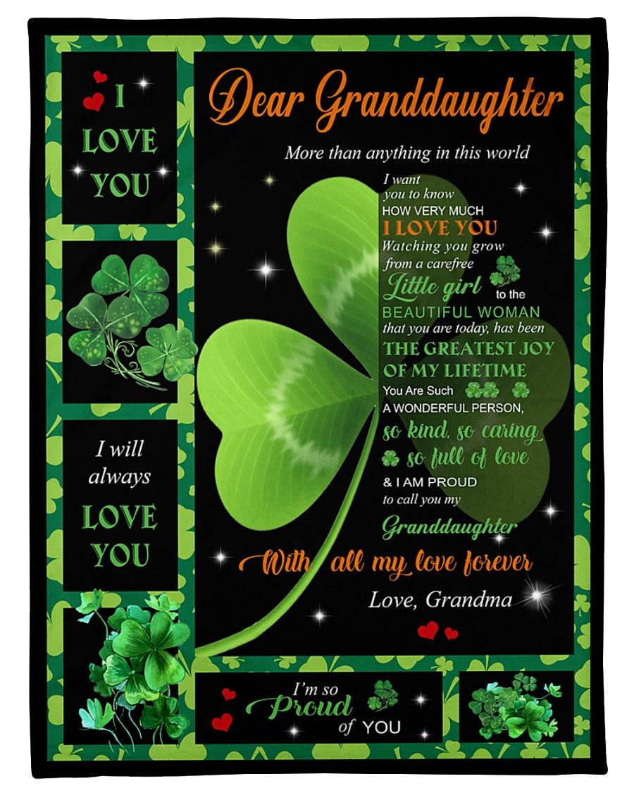 Dear Granddaughter More Than Anything In This World I Ant To Know How Very Much Patrick's Day Gifts Fleece Blanket - ATMTEE