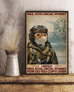 Cat Canvas, Exotic Mike Echo Oscar Whiskey Canvas, Wall Art Decor, Retro Style, Funny Kitty Canvas - ATMTEE