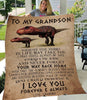 Gift For Grandson - To My Grandson -  I Love You Forever And Always, Grandma Gift To Grandson Dinosaur Fleece Blanket - ATMTEE