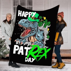 Gift For Dinosaur Lover, Happy Pat Rex Day Dinosaur Fleece Blanket - ATMTEE