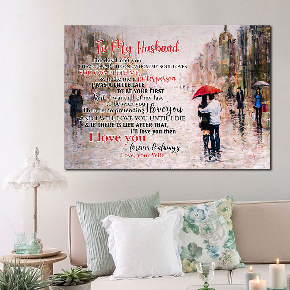 Husband Canvas Wall Art, To My Husband The Day I Met You I Have Found The One Whom My Soul Loves Canvas - ATMTEE