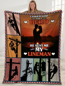 I Asked God For A Hero he Sent Me My Lineman Husband And Wife Sunset Sherpa Blanket