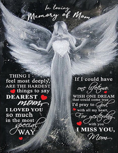 Mom Canvas, Best Gift For Mother's Day, In Loving Memory Of Mom Angel Black Canvas Wall Art - ATMTEE
