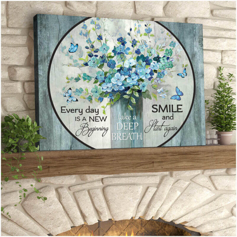 Butterfly Canvas Wall Art - Motivational Quotes Canvas - New Beginning Butterfly And Flowers Canvas Wall Art Decor - ATMTEE