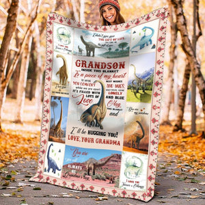 Personalized To My Grandson Dinosaur Fleece Blanket From Grandma I'll Be Hugging You - ATMTEE
