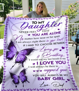 Personalized Blanket To My Daughter Never Feel That You Are Alone No Matter How Near Or Far Apart Sherpa Blanket - ATMTEE
