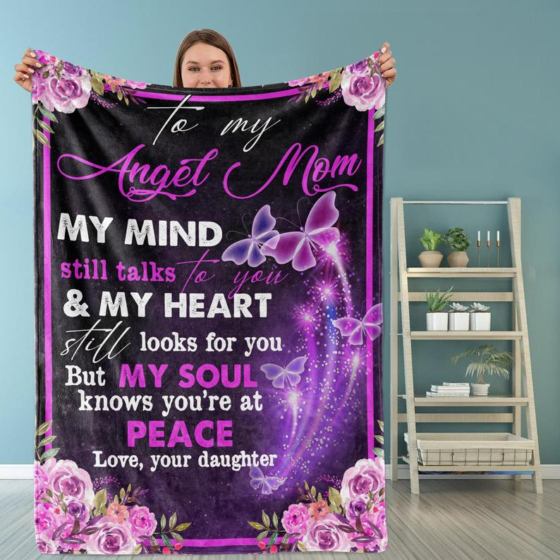 Personalized To My Angel Mom Blanket, Gifts For Mom, Mother's Day Gifts Idea Butterfly Fleece Blanket - ATMTEE
