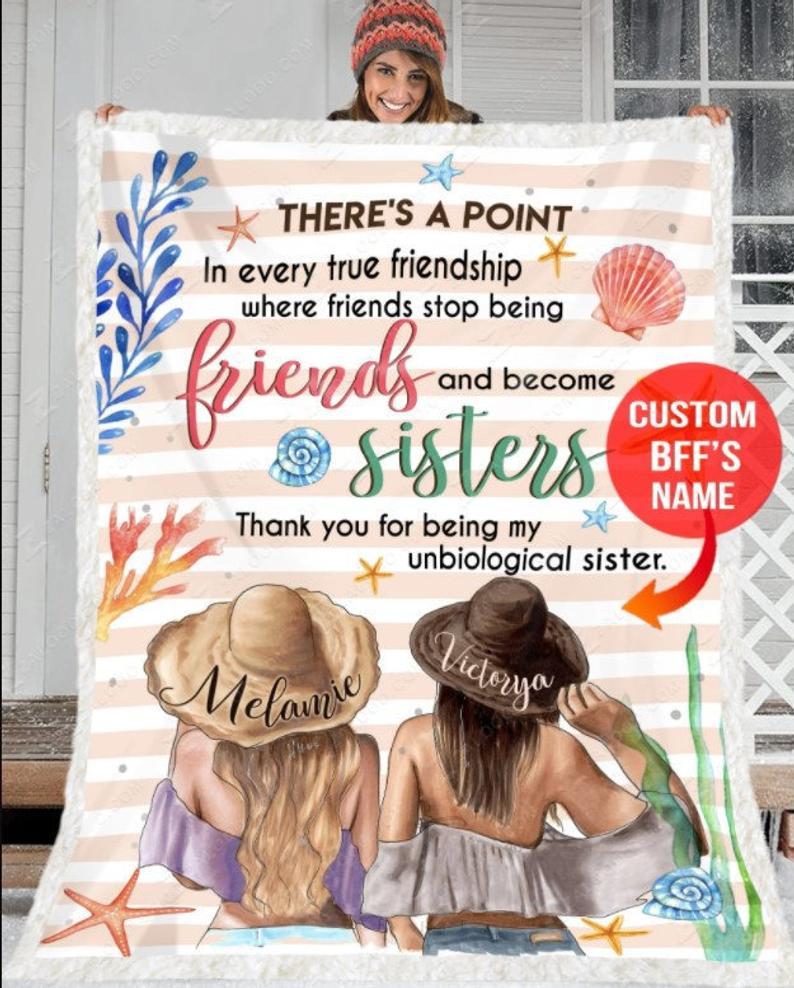 Personalized To My Bestie Blanket, Thank You For Being My Unbiological Sister, Gifts For Best Friend, Bestie Fleece Blanket - ATMTEE