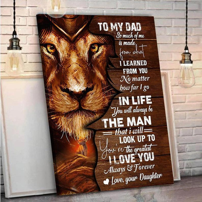 Personalized Canvas To My Dad, Gifts For Dad, Father And Daughter Canvas, Father's Day Gifts Lion Canvas