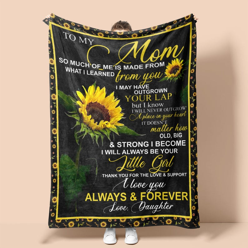 Personalized To My Mom Blanket Love From Daughter Sunflower, Gifts For Mom, Mother's Day Gifts From Daughter Fleece Blanket - ATMTEE