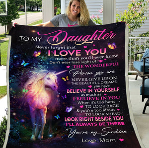 Personalized To My Daughter Never Forget That I Love You More Than You'll Ever Know Unicorn Fleece Blanket - ATMTEE