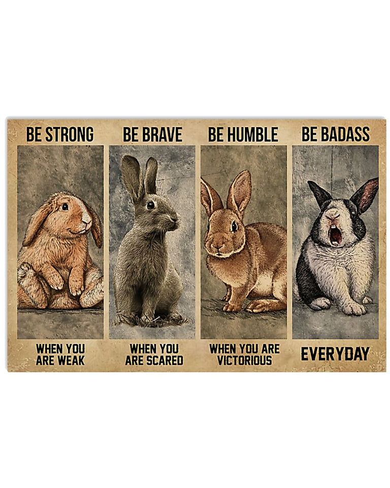 Rabbit Canvas Rabbit Wall Art, Best Gift For Rabbit Lovers, Rabbit Be Strong Be Brave Canvas - ATMTEE