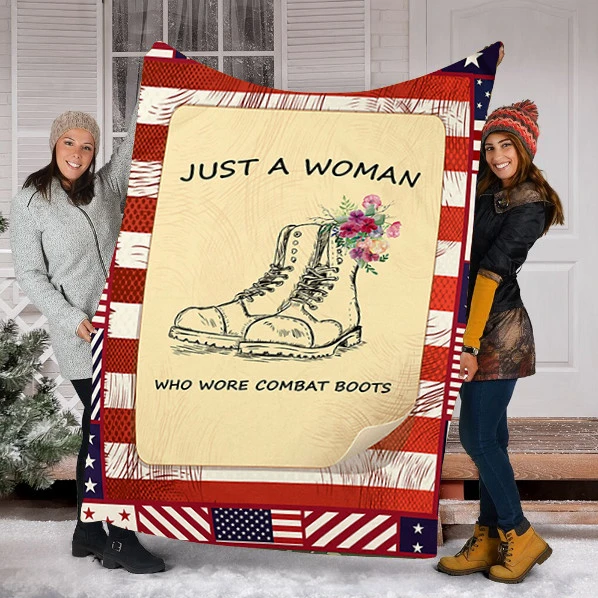 Just A Woman Who Wrote Combat Boots Fleece Blanket - ATMTEE