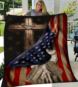Personalized Blanket Christian Flag, Behind In The Flag  Fleece Blanket - ATMTEE