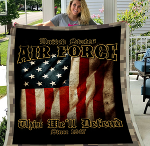 Air Force Veteran - Veteran Blanket, Air Force, Us Veteran, Quotes Blanket ATM-AFBL1 Fleece Blanket - ATMTEE