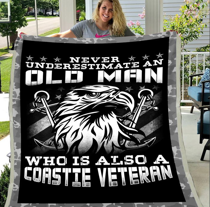 Coast Guard Veteran - Veteran Blanket, Coast Guard, Us Veteran, Quotes Blanket ATM-CGBL1 Fleece Blanket - ATMTEE