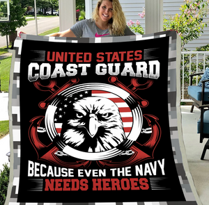 Coast Guard Veteran - Veteran Blanket, Coast Guard, Us Veteran, Quotes Blanket ATM-CGBL2 Fleece Blanket - ATMTEE