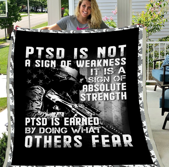 PTSD Blanket - PTSD, Warrior, Us Veteran, Quotes Blanket, Veteran ATM-PTSDBl04 Fleece Blanket - ATMTEE