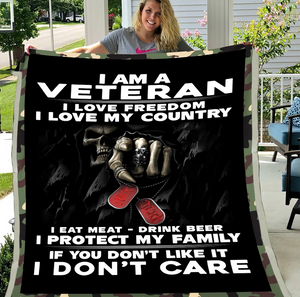 Veterans Blanket - I Am A Veteran I Love Freedom I Love My Country Fleece Blanket - ATMTEE