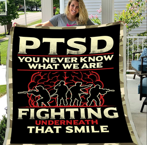 PTSD Blanket - PTSD, Warrior, Us Veteran, Quotes Blanket, Veteran ATM-PTSDBl05 Fleece Blanket - ATMTEE