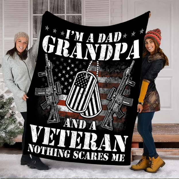 I'm A Dad Grandpa And A Veteran Nothing Scares Me Fleece Blanket - ATMTEE