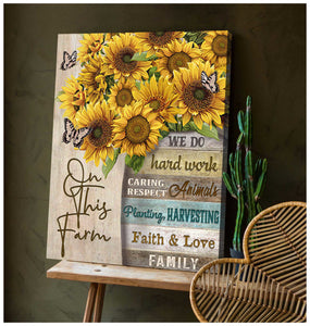 Butterfly Canvas Wall Art - Motivational Quotes Canvas - Sunflowers And Butterflies On This Farm Canvas Wall Art Decor - ATMTEE