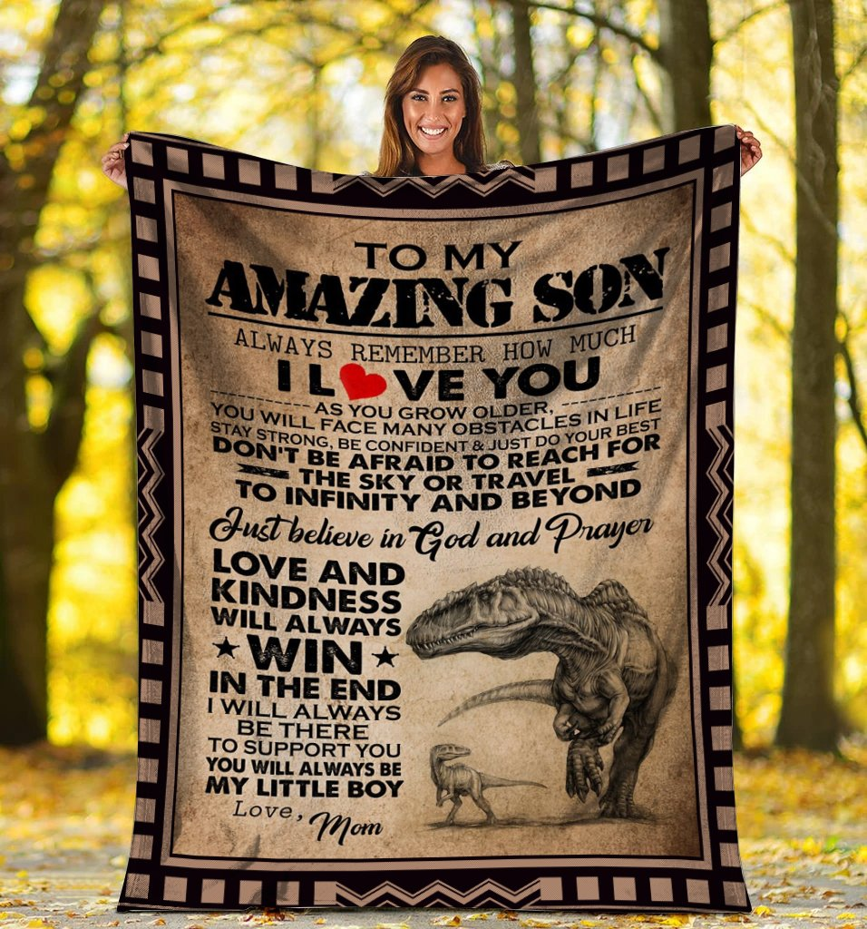 To My Amazing Son Always Remember How Much I Love You Dinosaur Fleece Blanket - ATMTEE