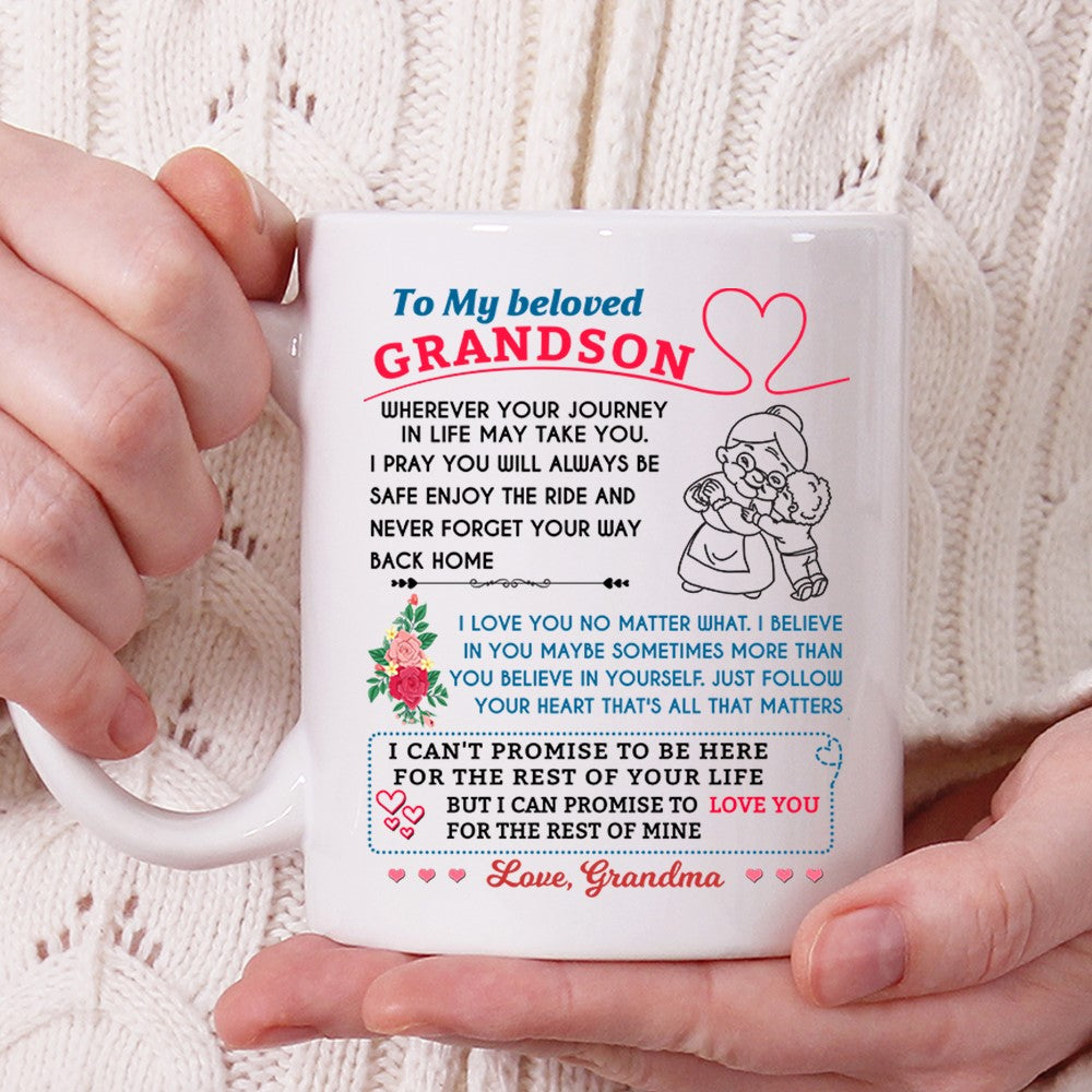 Grandson Mug To My Beloved Grandson Whereever Your Journey, Gift For Grandson From Grandmother Mug - ATMTEE