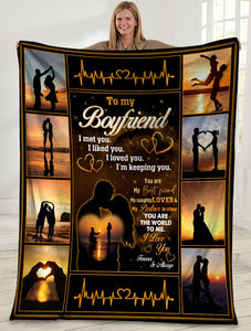 To My Boyfriend I Met You I Liked You I Loved You Boyfriend And Girlfriend Sunset Sherpa Blanket