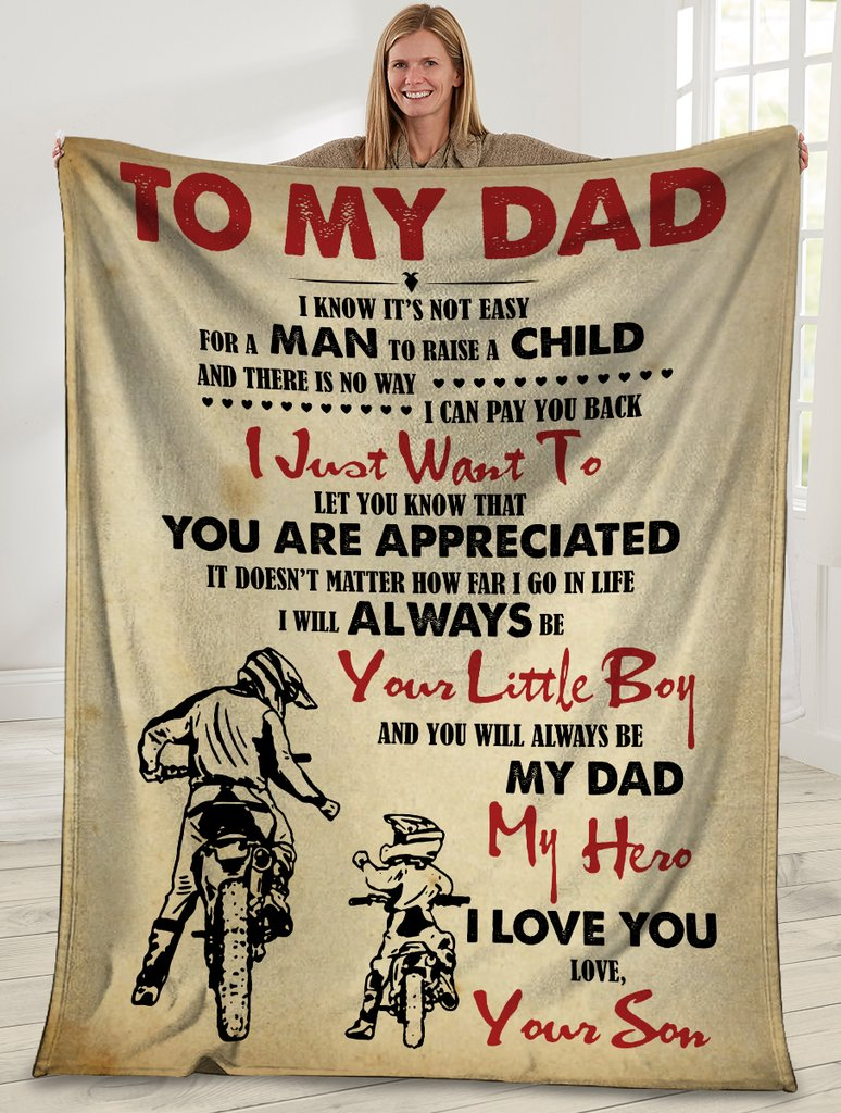 To My Dad I Know It's Not Easy Dad And Son Motorbike Sherpa Blanket - ATMTEE