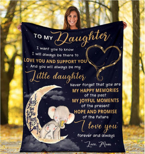 To My Daughter I Want You To Know Elephant Fleece Blanket