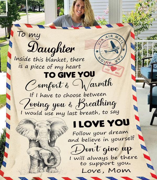 To My Daughter Inside This Fleece Blanket, Elephant Blanket, Gift For Daughter