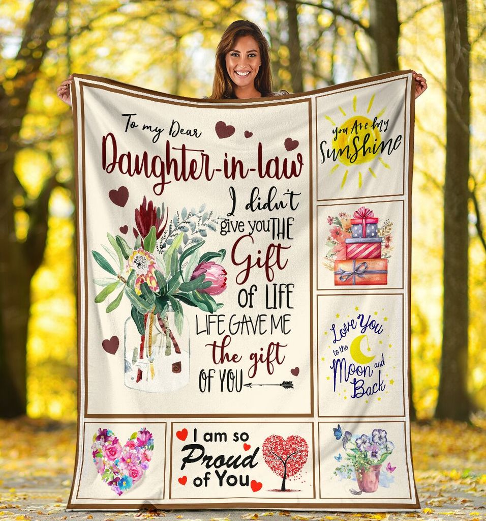To My Dear Daughter-In-Law Flower I Didn't Give You The Gift Of Life Sherpa Blanket - ATMTEE